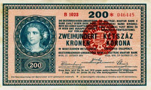 Korona bankjegyek felülbélyegzése 1920-ban
