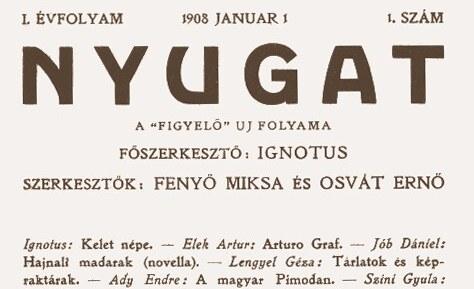 A Nyugat folyóirat árai 1908-1941